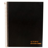 TOPS 63828 JEN Action 6 3/4 inch x 8 1/2 inch Wirebound Planner with Black Gloss Cover
