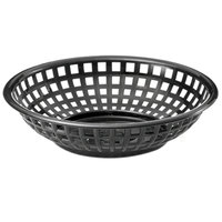 Tablecraft 1075BK 8 inch x 2 inch Black Round Serving Plastic Basket - 12/Pack
