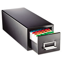 Steelmaster MMF263F3516SBLA 7 3/4 inch x 18 1/8 inch x 7 inch Black 1 Drawer Index Card Cabinet - 3 inch x 5 inch Cards