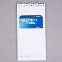 TOPS 8030 4 inch x 8 inch Wide Ruled White Wirebound Reporter's Notebook - 12/Pack