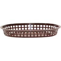 Tablecraft 1076BR 10 5/8 inch x 7 inch x 1 1/2 inch Brown Oval Chicago Platter Basket - 12/Pack