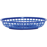 Tablecraft 1074BL 9 3/8 inch x 6 inch x 1 7/8 inch Blue Classic Oval Plastic Basket - 12/Pack