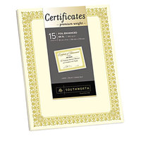 Southworth CTP1V Premium Certificates 8 1/2 inch x 11 inch Ivory Pack of 66# Certificate Paper with Fleur Gold Foil Border   - 15/Sheets