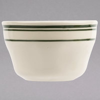 World Tableware VIC-4 Viceroy 7.25 oz. Ivory (American White) Rolled Edge Stoneware Bouillon with Green Bands - 36/Case