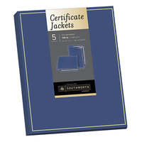 SouthWorth PF6 12 inch x 9 1/2 inch Pack of Felt Certificate Jacket with Navy / Gold Border   - 5/Sheets