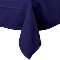 64 inch x 110 inch Navy Blue 100% Polyester Hemmed Cloth Table Cover