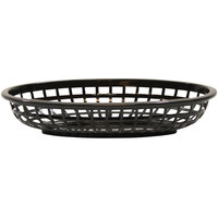 Tablecraft 1074BK 9 3/8 inch x 6 inch x 1 7/8 inch Black Classic Oval Plastic Basket - 12/Pack