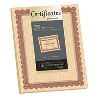 SouthWorth CT5R 8 1/2 inch x 11 inch Pack of Copper Parchment Certificate with Red and Brown Border   - 25/Sheets