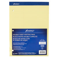Ampad 20-245 8 1/2 inch x 11 3/4 inch Law Ruled Canary 3-Hole Punched Writing Pad - 6/Pack