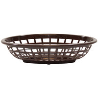 Tablecraft 1071BR 8 inch x 5 3/8 inch x 2 inch Brown Oval Side Order Plastic Basket - 12/Pack