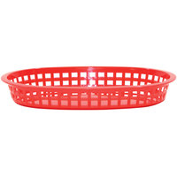 Tablecraft 1076R 10 5/8 inch x 7 inch x 1 1/2 inch Red Oval Chicago Platter Basket - 12/Pack