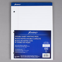 Ampad 20-244 8 1/2 inch x 11 3/4 inch Wide Ruled White 3-Hole Punched Writing Pad - 6/Pack