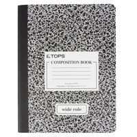 TOPS 63795 7 1/2 inch x 9 3/4 inch Wide Ruled Composition Book with Black Cover   - 12/Pack