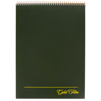 Ampad 20-811 Gold Fibre 8 1/2 inch x 11 3/4 inch Wide Ruled Perforated Wirebound Planner Pad with Green Cover