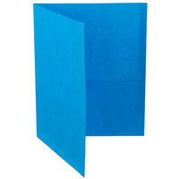 Oxford 57501EE Letter Size 2-Pocket Embossed Paper Pocket Folder, Light Blue - 25/Box