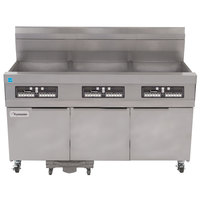Frymaster 31814GFC Natural Gas Oil Conserving 189 lb. 3 Unit Floor Fryer System with CM3.5 Controls and Filtration System - 345,000 BTU
