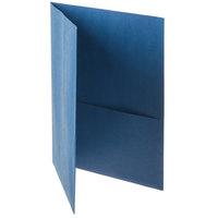 Oxford 57502EE Letter Size 2-Pocket Embossed Paper Pocket Folder, Blue - 25/Box