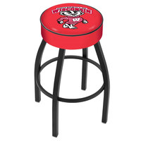 Holland Bar Stool L8B130WI-Bdg University of Wisconsin Single Ring Swivel Bar Stool with 4 inch Padded Seat