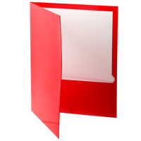 Oxford 51711 Letter Size 2-Pocket High Gloss Laminated Paper Pocket Folder, Red - 25/Box