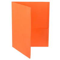 Oxford 57510EE Letter Size 2-Pocket Embossed Paper Pocket Folder, Orange - 25/Box
