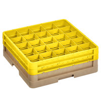 Vollrath CR8DD-32808 Traex® 16 Compartment Beige Full-Size Closed Wall 6 3/8 inch Glass Rack with 2 Yellow Extenders