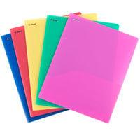 Oxford 99810 PolyPort Letter Size 2-Pocket Plastic Pocket Folder, Assorted Color - 25/Box