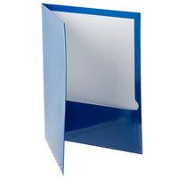 Oxford 51701EE Letter Size 2-Pocket High Gloss Laminated Paper Pocket Folder, Blue - 25/Box