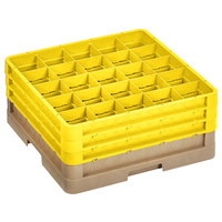 Vollrath CR8DDD-32808 Traex® 16 Compartment Beige Full-Size Closed Wall 7 7/8 inch Glass Rack with 3 Yellow Extenders
