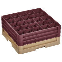 Vollrath CR8DDD-32821 Traex® 16 Compartment Beige Full-Size Closed Wall 7 7/8 inch Glass Rack with 3 Burgundy Extenders