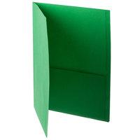 Oxford 57503EE Letter Size 2-Pocket Embossed Paper Pocket Folder, Light Green - 25/Box