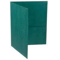 Oxford 57556EE Letter Size 2-Pocket Embossed Paper Pocket Folder, Hunter Green - 25/Box