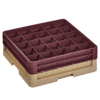 Vollrath CR8DD-32821 Traex® 16 Compartment Beige Full-Size Closed Wall 6 3/8 inch Glass Rack with 2 Burgundy Extenders