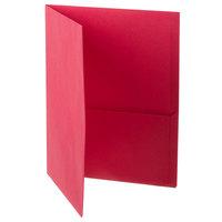 Oxford 57511 Letter Size 2-Pocket Embossed Paper Pocket Folder, Red - 25/Box