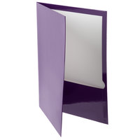 Oxford 51726 Letter Size 2-Pocket High Gloss Laminated Paper Pocket Folder, Purple - 25/Box