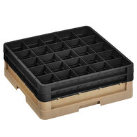 Vollrath CR6BB-32806 Traex® 25 Compartment Beige Full-Size Closed Wall 6 3/8 inch Glass Rack with 2 Black Extenders