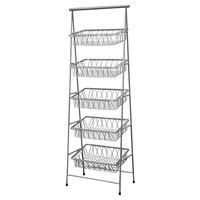 GET IR-951T-SV POP 23 1/2 inch x 14 inch Silver Metal Rectangular 5-Tier Tilted Pane Stand
