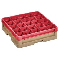 Vollrath CR12H-32902 Traex® Rack Max 30 Compartment Beige Full-Size Closed Wall 4 13/16 inch Glass Rack with 1 Red Extender