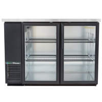 True TBB-24-48G-HC-LD 49 inch Black Glass Door Narrow Back Bar Refrigerator with LED Lighting
