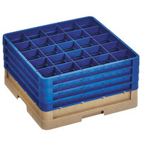 Vollrath CR11GGGG-32844 Traex® Rack Max 20 Compartment Beige Full-Size Closed Wall 9 7/16 inch Glass Rack with 4 Royal Blue Extenders