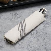 Hoffmaster FP1314 15 1/2 inch x 15 1/2 inch FashnPoint White/Black Dishtowel Print Dinner Napkin - 250/Pack