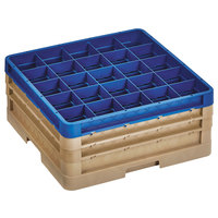 Vollrath CR6BBB-32944 Traex® 25 Compartment Beige Full-Size Closed Wall 7 7/8 inch Glass Rack with 2 Beige Extenders, 1 Royal Blue Extender