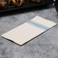Hoffmaster FP1111 15 1/2 inch x 15 1/2 inch FashnPoint White/Blue Dishtowel Print Dinner Napkin - 100/Pack