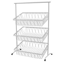 GET IR-952T-SV Pop 22 3/4 inch x 11 inch Silver Metal Rectangular 3-Tier Tilted Pane Stand