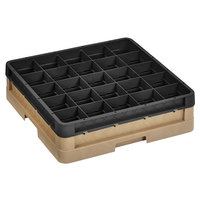 Vollrath CR6B-32906 Traex® 25 Compartment Beige Full-Size Closed Wall 4 13/16 inch Glass Rack with 1 Black Extender