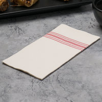 Hoffmaster FP1110 FashnPoint 15 1/2 inch x 15 1/2 inch White/Red Linen-Feel 1/8 Fold Ultra-Ply Dishtowel Print Napkin - 100/Pack