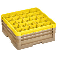 Vollrath CR6BBB-32908 Traex® 25 Compartment Beige Full-Size Closed Wall 7 7/8 inch Glass Rack with 2 Beige Extenders, 1 Yellow Extender