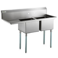 Regency 57 inch 16 Gauge Stainless Steel Two Compartment Commercial Sink with 1 Drainboard - 17 inch x 17 inch x 12 inch Bowls