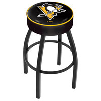 Holland Bar Stool L8B130PitPen Pittsburgh Penguins Single Ring Swivel Bar Stool with 4 inch Padded Seat