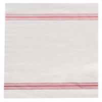 Hoffmaster FP1312 FashnPoint 15 1/2 inch x 15 1/2 inch White/Red Linen-Feel Flat Pack Ultra-Ply Dishtowel Print Napkin - 250/Pack
