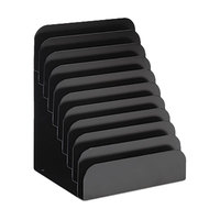 MMF Industries 267061004 8 inch x 6 3/4 inch x 11 inch Black 10 Section Steel Cashier Pad Rack